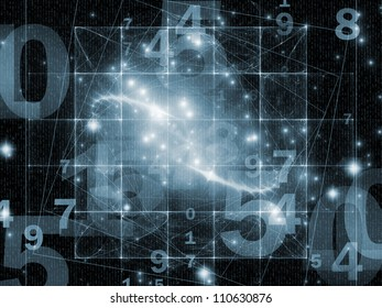 Abstract design made of numbers and abstract design elements on the subject of modern computing, virtual reality and digital processing