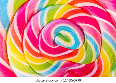 Abstract Design Rainbow Tie Dye Colors in Swirl Pattern in Large Lollipop Sucker