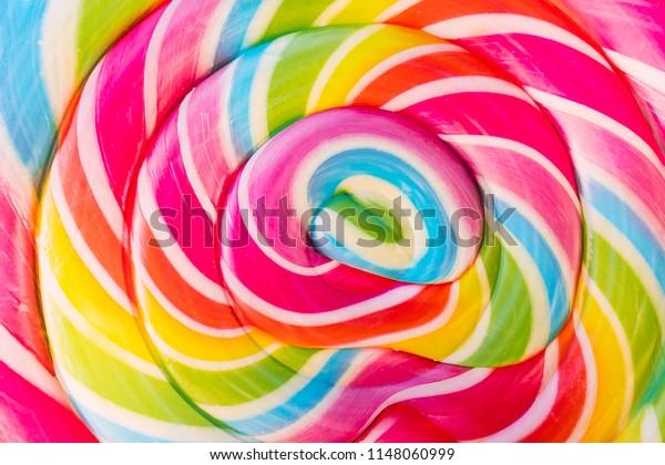 Abstract Design Rainbow Tie Dye Colors in Swirl Pattern in Large Lollipop Sucker