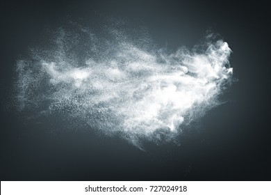Abstract design of white powder snow cloud explosion on dark background - Shutterstock ID 727024918