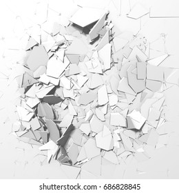 Abstract destruction white surface. Chaotic broken fragments background. 3d render illustration