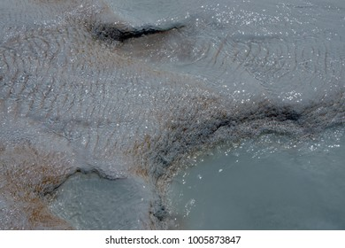 Abstract detail of calcium deposits  on travertine terraces at  Pamukkale,  Turkey