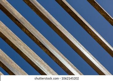 Abstract detail view of diagonal beams of wood