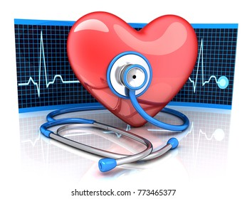 Abstract diagnostic red hearth and ECG diagram. 3d illustration
