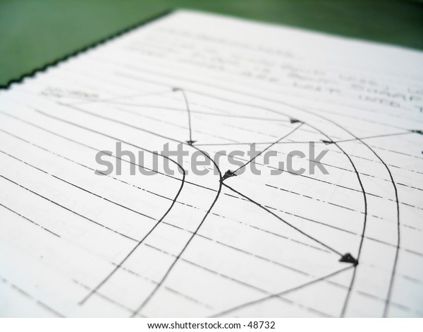 Abstract diagram on notebook with a series of arrows.