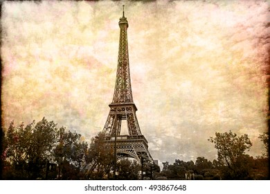 Abstract digital art of Eiffel Tower in Paris. Old paper. Postcard, high resolution, printable on canvas
