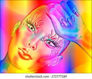 Abstract digital art image of a woman's face close up on a colorful textured background. Great for expressing modern art, beauty or abstract themes.