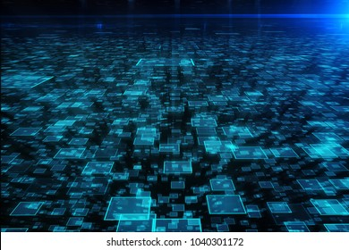 Abstract digital backdrop. Technology, artificial intelligence and innovation concept. 3D Rendering