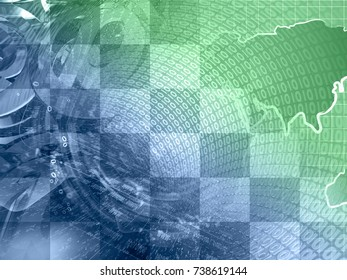 Abstract digital background in greens and blues - map, digits and mail signs.