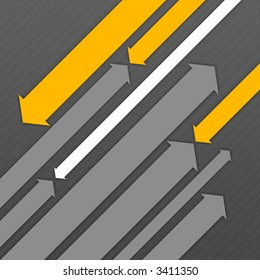 Abstract digital background with two groups of diagonal flying arrows.