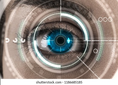 Abstract digital blue eye interface background. Biometrics and scanning concept. Double exposure