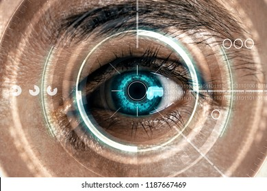 Abstract digital blue eye interface backdrop. Biometrics and scanning concept. Double exposure