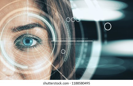 Abstract digital blue eye interface wallpaper. Biometrics and scanning concept. Double exposure
