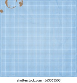 Abstract digital blueprint background with coffee stains.
