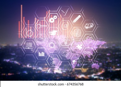 Abstract digital business panel on blurry night city background. Inovation concept. Double exposure