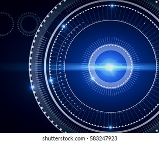 Abstract digital circle with bright blue light on dark background. Technology concept