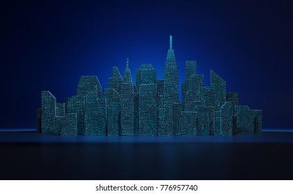 Abstract Digital Cityscape. 3D illustration