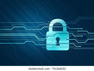 Abstract digital concept of internet data security and safety with lock on circuit microchip background. For branding, graphic design, wallpaper.