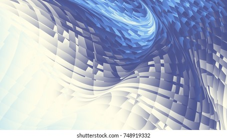 Abstract digital fractal pattern. Horizontal orientation. Abstract futuristic image.