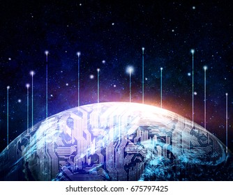 Abstract digital globe in night sky. Global communications concept. Double exposure. Elements of this image furnished by NASA