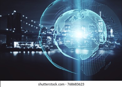 Abstract digital globe on night city background. Global business concept. Double exposure