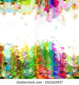 An abstract digital grunge paint border background.