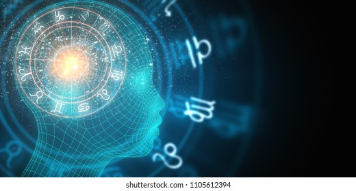 Abstract digital head profile with horoscopic wheel on dark backdrop. Fortune and future concept. 3D Rendering