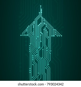 Abstract digital illustration of microchip board in arrow shape moving up on dark green background. Technology concept image.