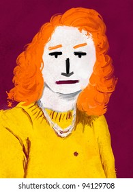abstract digital illustration of a young woman with orange hair