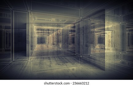 Abstract digital interior 3d background with perspective wire-frame view of dark corridor