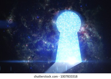 Abstract digital keyhole door on space background. Future and success concept. Elements of this image furnished by NASA