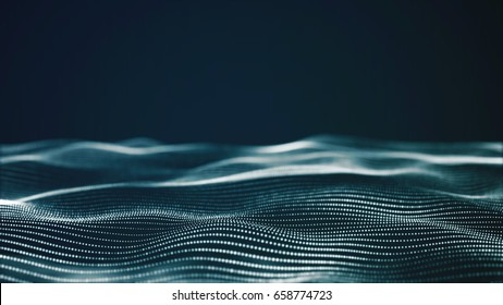 Abstract digital landscape with flowing particles. Cyber or technology background - Shutterstock ID 658774723