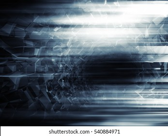 Abstract digital sci-fi background, shining tunnel, 3d illustration