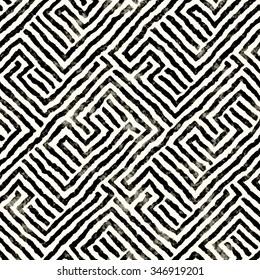 Abstract distressed decorative maze motif. Seamless pattern.