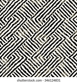 Abstract distressed modern twisted striped motif. Seamless pattern.