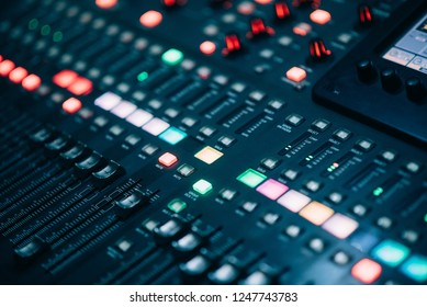 abstract dj mixer technology background with lots of light spots