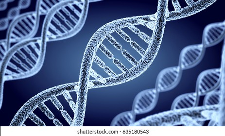 Abstract DNA helix background. 3d illustration
