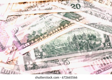 Abstract dollar bills of different denominations background