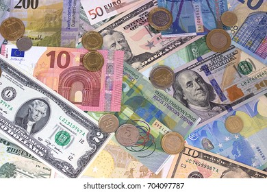 Abstract dollar euro swiss franc and coins background