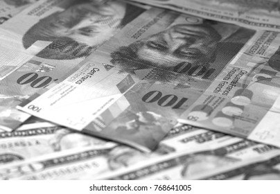 Abstract dollar euro swiss franc background black and white