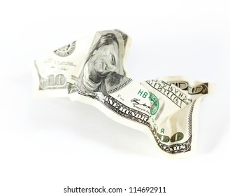 Abstract dollars concept background against white, one hundred dollars