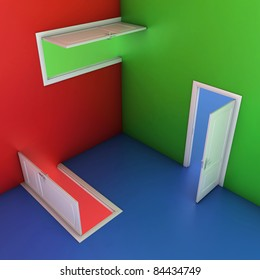 abstract doors 3d illustration, entrance, choice, confusion concept