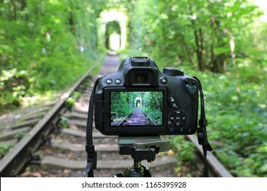 Dslr Hd Stock Images Shutterstock 4,000+ vectors, stock photos & psd files. https www shutterstock com image photo abstract dslr camera on railway forest 1165395928