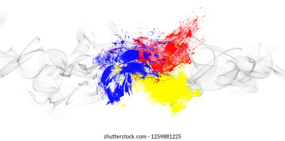 Abstract dynamic colorful watercolor ink splashes  background