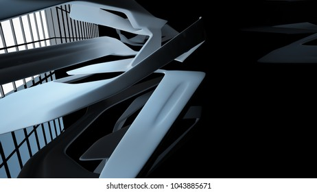 Abstract dynamic interior with black smooth objects. 3D illustration and rendering