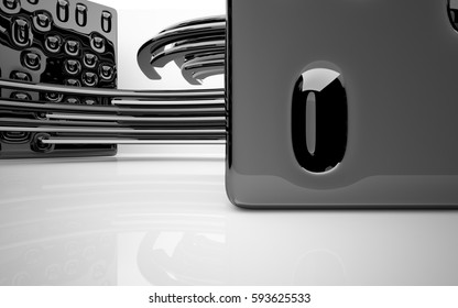 Abstract dynamic interior with black smooth objects . 3D illustration and rendering