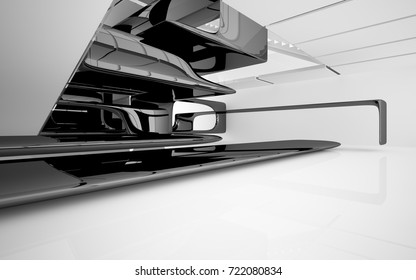 Abstract dynamic interior with black smooth objects and white room . 3D illustration and rendering