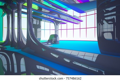 Abstract dynamic interior with brown and colored gradient smooth objects. 3D illustration and rendering