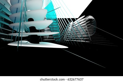 Abstract dynamic interior with white smooth objects and blue glass in black room . 3D illustration and rendering