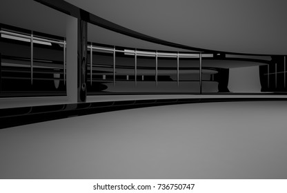 Abstract dynamic interior with white smooth objects and black room . 3D illustration and rendering